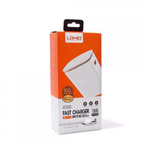Kucni punjac LDNIO A1301Q USB 5V/3A FAST QC 3 0 microUSB beli preview
